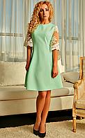 Платье а-силуэт с кружевом мятное, фото 1