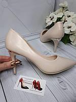 Туфли женские каблук  8см  бежевый МАТОВЫЕ , фото 1