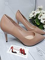 Туфли женские каблук  8см  ТЕМНЫЙ БЕЖ