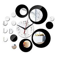 3-D часы настенные кольца круги черные, серебренные