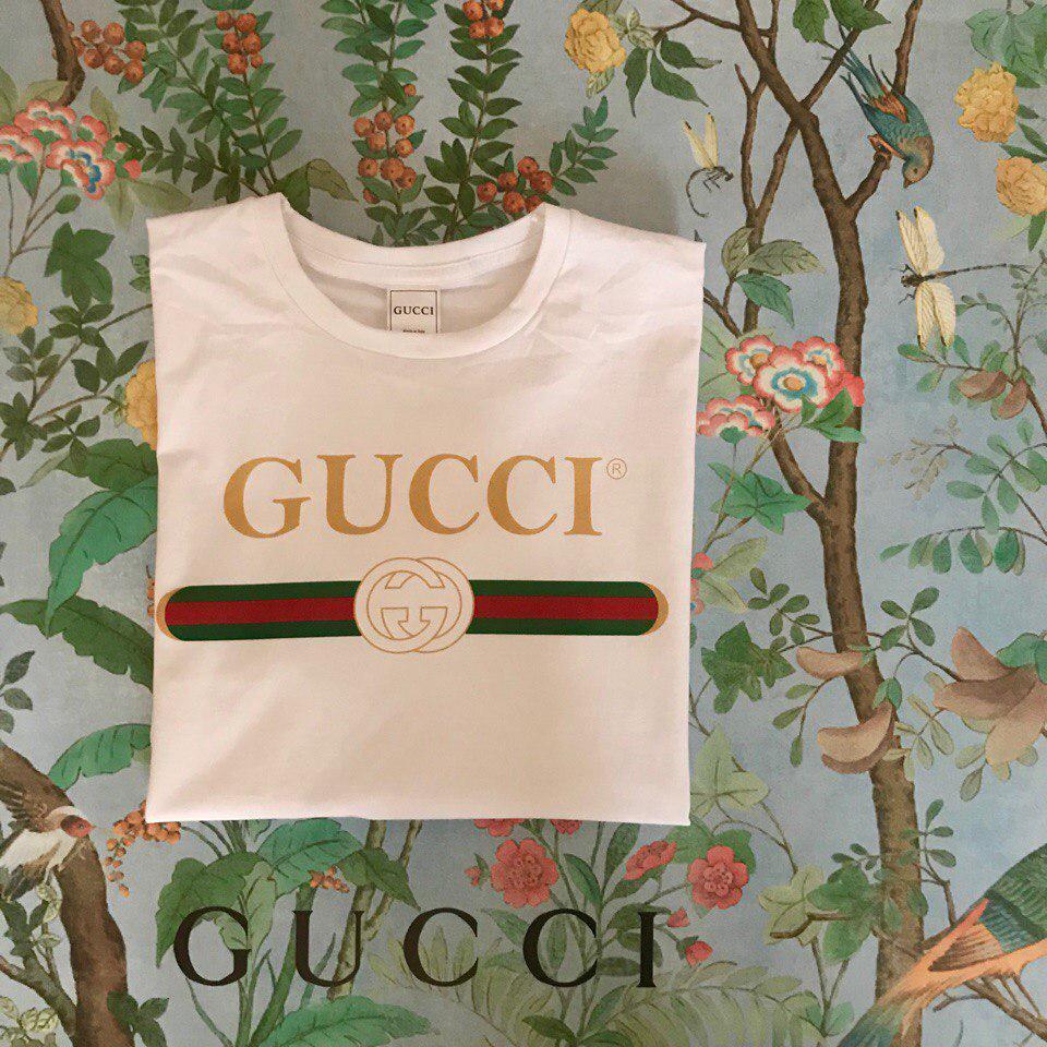 Футболка Gucci, надпись золото