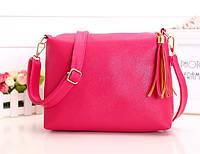 Жіноча сумка рожева з пензликом з екошкіри через плече опт, фото 1