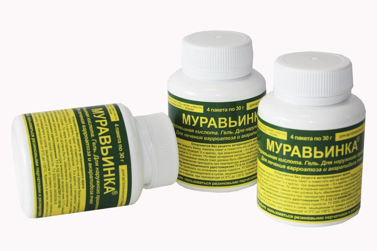Муравьинка гель для лечения варроатоза и акарапидоза (85% муравьиная кислота), 4 пак. по 30 г