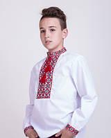 Вышиванка для мальчика, красная вышивка на белом батисте, фото 1