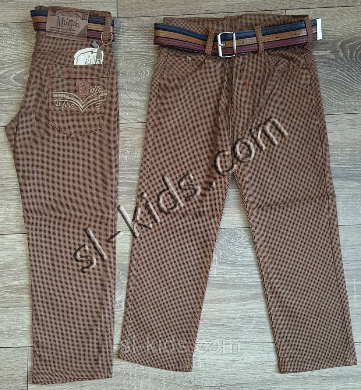 Яркие штаны,джинсы для мальчика 3-7 лет(ромбик коричневые) опт пр.Турция
