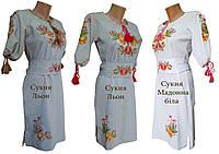 Женское вышитое платье изо льна с круглой горловиной «Петриковская роспись»