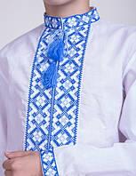 Вышиванка для мальчика, синяя вышивка на белом батисте, фото 1