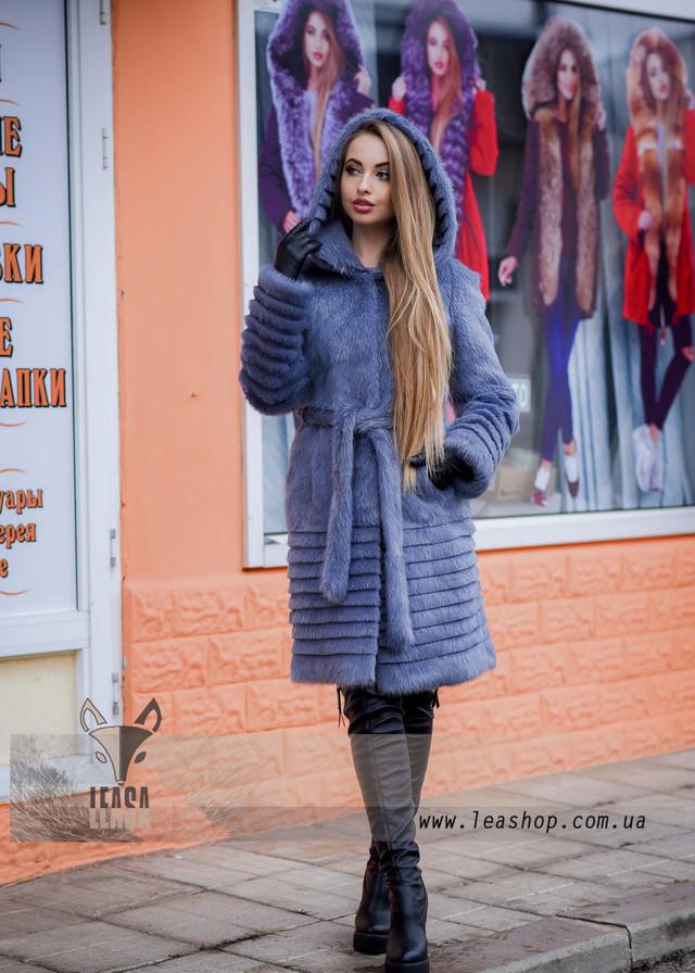 Женская шуба песцово сапфировго цвета, ФОТО