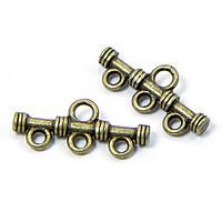 Коннекторы 4 отверстия, металлические, бронзовые, 20х9 мм, 10 шт УТ 0008212