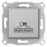 Розетка USB двойная Алюминий Sedna Schneider, SDN2710260
