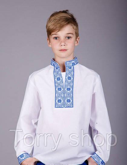 Детская вышитая рубашка, синяя вышивка