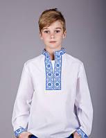 Детская вышитая рубашка, синяя вышивка, фото 1