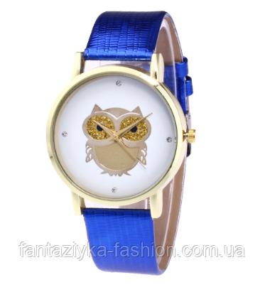 Стильные женские часы сова с синим ремешком