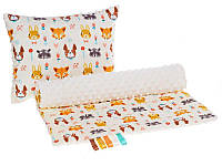 Комплект в детскую коляску BabySoon Лесные жители одеяло 75 х 78 см подушка 30 х 40 см плюш молочный