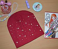 Весенняя шапка для девочек с жемчугом красный, фото 1
