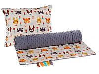 Комплект в детскую коляску BabySoon Лесные жители одеяло 75х78 см подушка 30х40 см плюш серый цвет