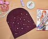 Весенняя шапка для девочек с жемчугом бордо
