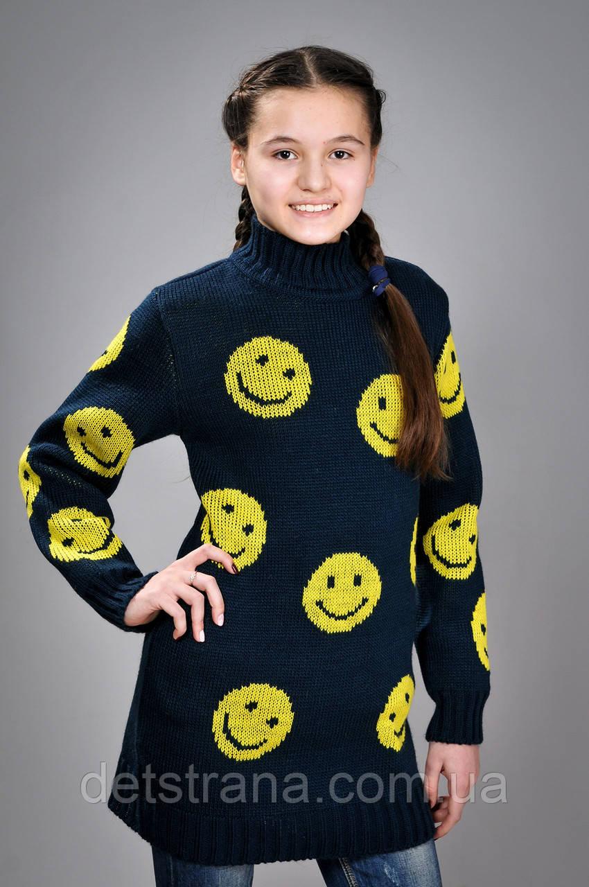 Детская вязаная туника с смайликами для девочки