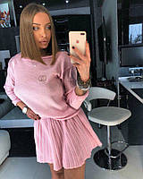 Розовый костюм с юбкой, фото 1