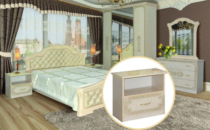 Тумбочка приліжкова з ДСП/МДФ в спальню Венеція Нова піно беж Світ Меблів