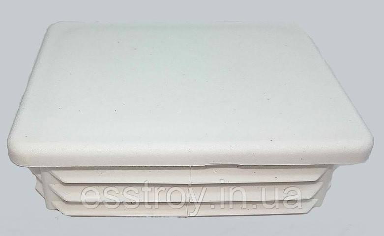 Заглушка профильной трубы  плоская 60*80 Белая