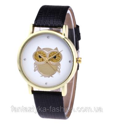 Стильные женские часы сова с черным ремешком