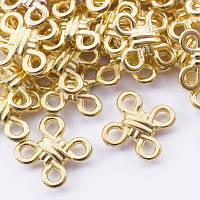 Коннекторы ромб 4 отверстия, металлические, цвет-золото, 10х10 мм, 50 шт УТ 00028235