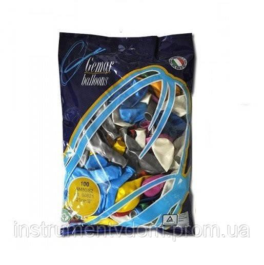 """Надувные шары  """"Металлик Ассорти"""" Gemar Balloons AM80/82 (21 см/8"""", арт. 80821, упаковка 100 шт)"""