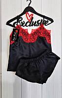 Черная атласная пижама с красным кружевом АТ-1052