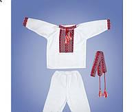 Детский костюмчик для крещения, красная вышивка