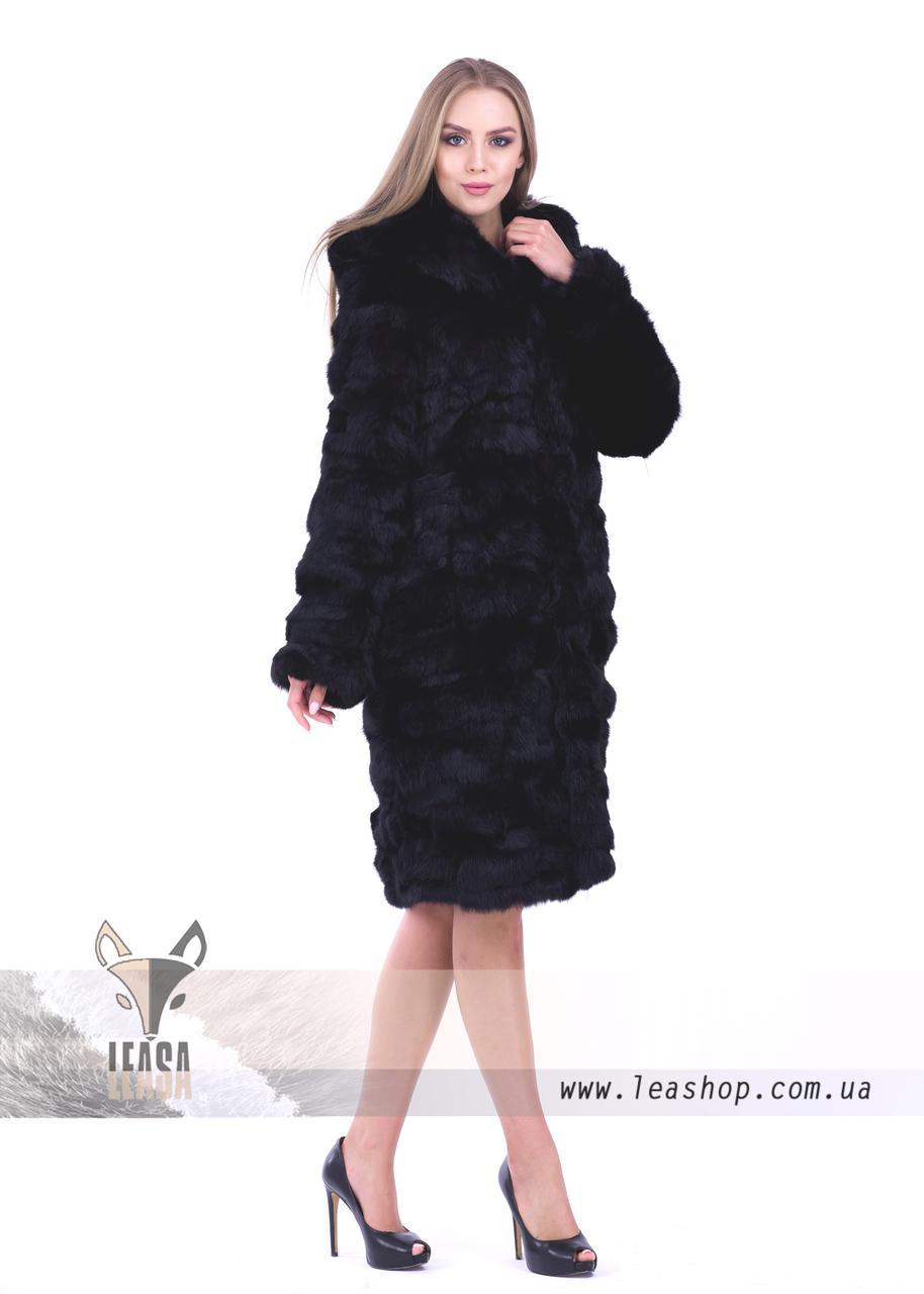 Женская шуба из натурального меха кролика