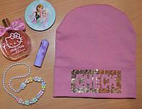 Демисезонная шапка для девочек CHEСK розовый