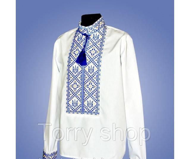 Детская вышитая рубашка с гербом, синий орнамент