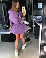 Сиреневый юбочный костюм, фото 1