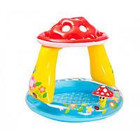 Детский бассейн грибок с надувным дном и навесом Intex 57114: размер 102х89см
