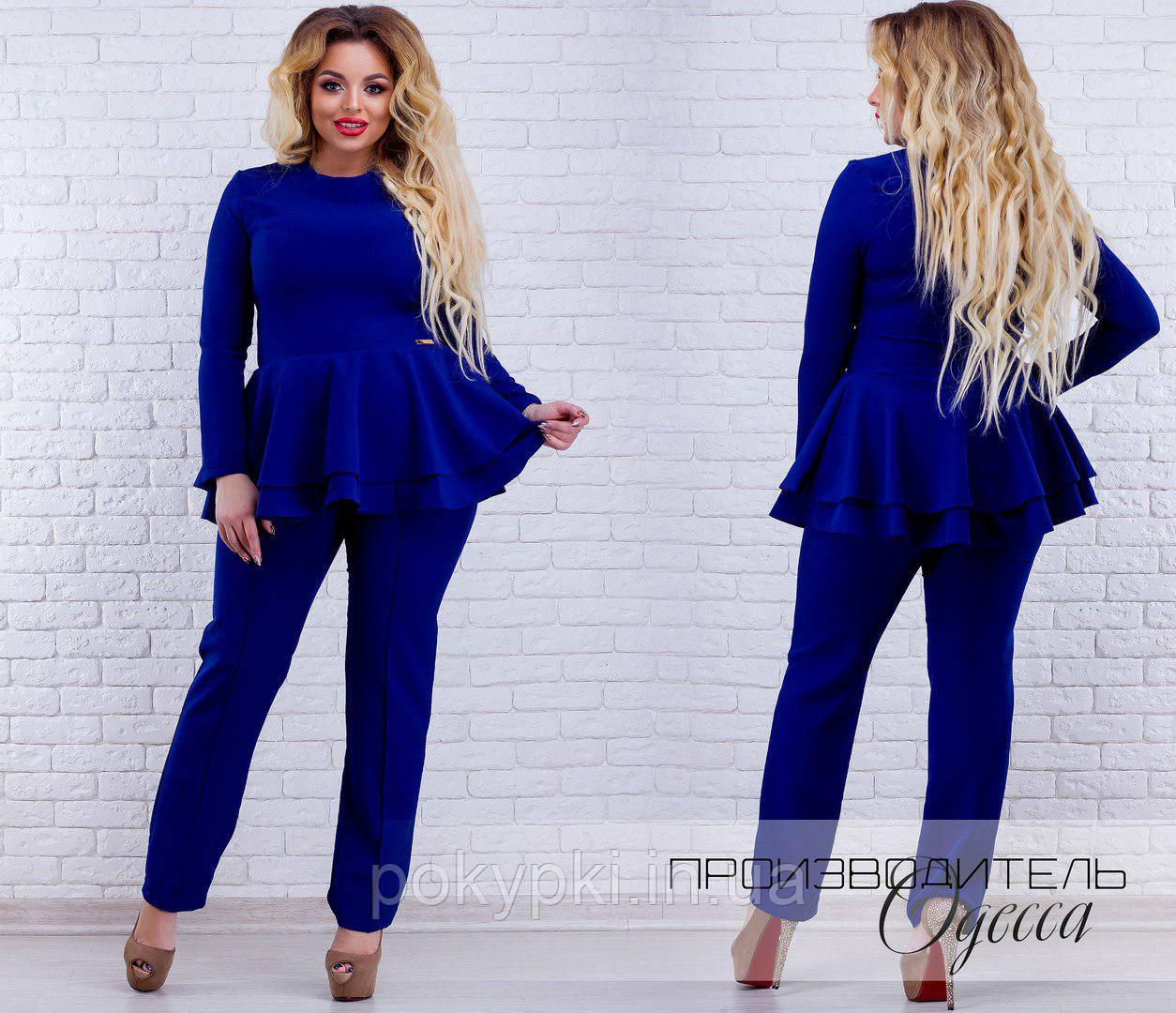 ae527dac015 Купить Женский брючный костюм двойка кофта с баской ярко синий для ...