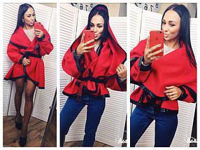 """Короткое кашемировое пальто на запах """"DENVER"""" с капюшоном (2 цвета), фото 3"""