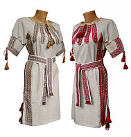 Льняное вышитое платье для подростка с поясом и геометрическим орнаментом, фото 1