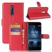 Чехол Nokia 8 книжка PU-Кожа красный