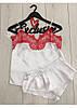 Белая атласная пижама с красным кружевом АТ-1055