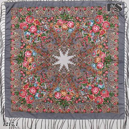 Серый павлопосадский платок Испанский танец, фото 2