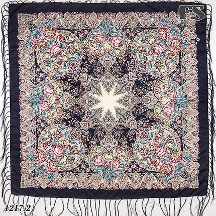 Тёмно-синий павлопосадский платок Испанский танец, фото 2