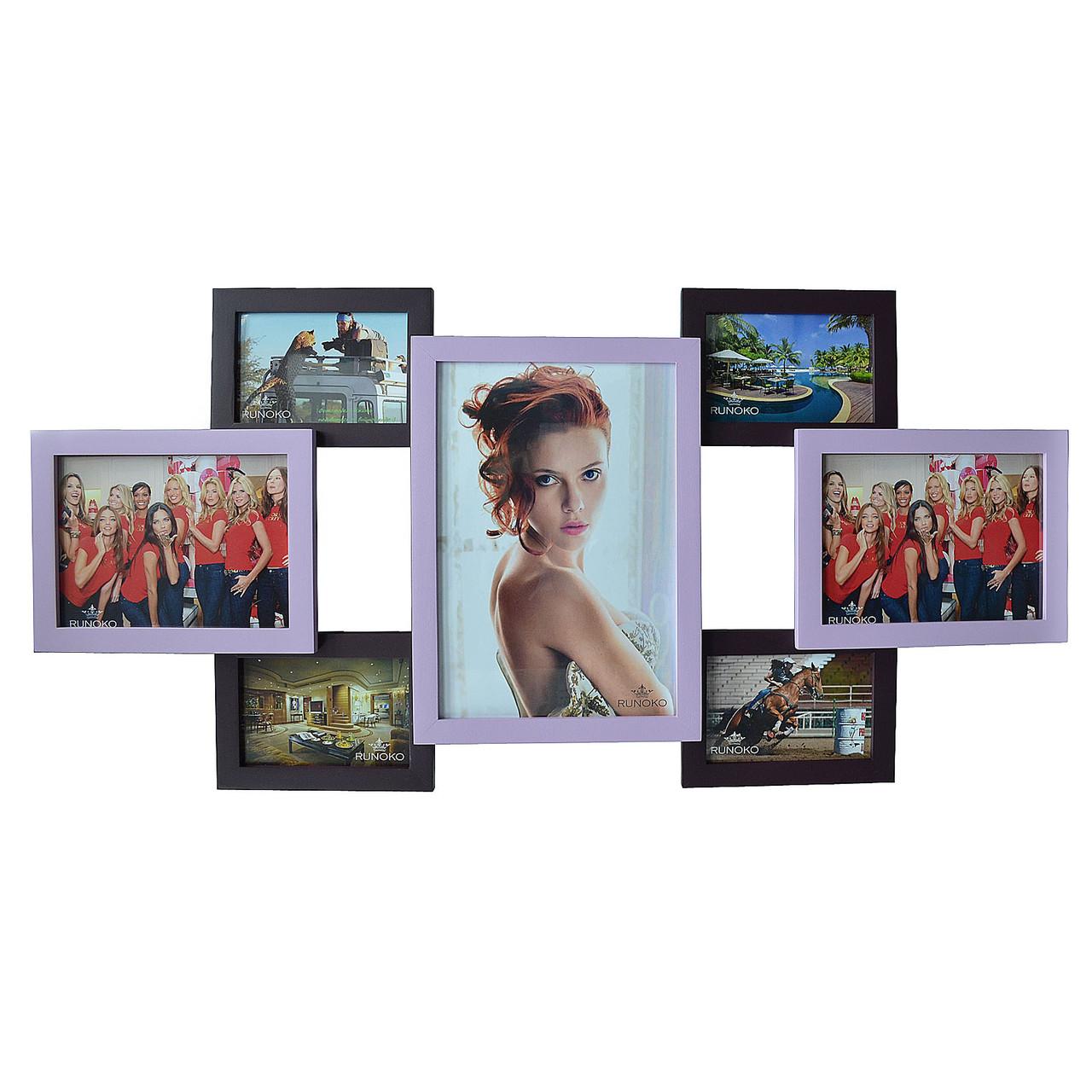 """Дерев'яна мультирамка на 7 фото """"Руноко Сімка"""" - фіолетова (фоторамка колаж 85 х 40 см)"""