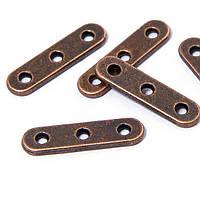 Разделители прямоугольный 3 отверстия, металлические, цвет-медь, 24х6 мм, 10 шт УТ 10006780