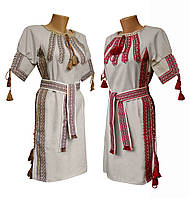 Лляна вишита жіноча сукня із поясом та вишивкою на грудях, фото 1