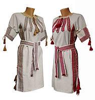 Льняное вышитое женское платье с поясом и вышивкой на груди, фото 1
