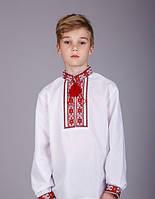 Вышитая рубашка хрестиком подростковая, красный орнамент, фото 1