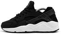 Женские кроссовки Nike Air Huarache Найк Аир Хуарачи черные с белым