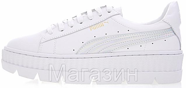 741f07bb7442 Женские кроссовки Puma Rihanna Fenty Cleated Creeper White Пума Рианна  Фенти белые