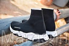 """Мужские кроссовки Balenciaga Speed Trainer """"Black"""" (Баленсиага с носком) черные с белым, фото 3"""